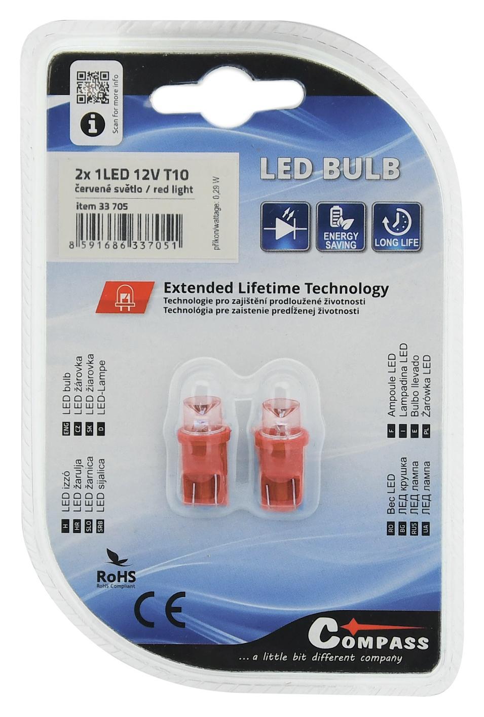 Žárovka 1LED 12V  T10  červená  2ks