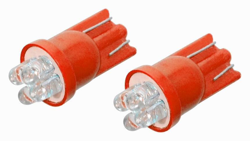 LED žárovka 4LED 12V  T10  červená  2ks