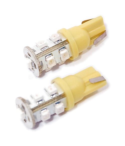 LED žárovka 9 SUPER LED 12V  T10  oranžová 2ks