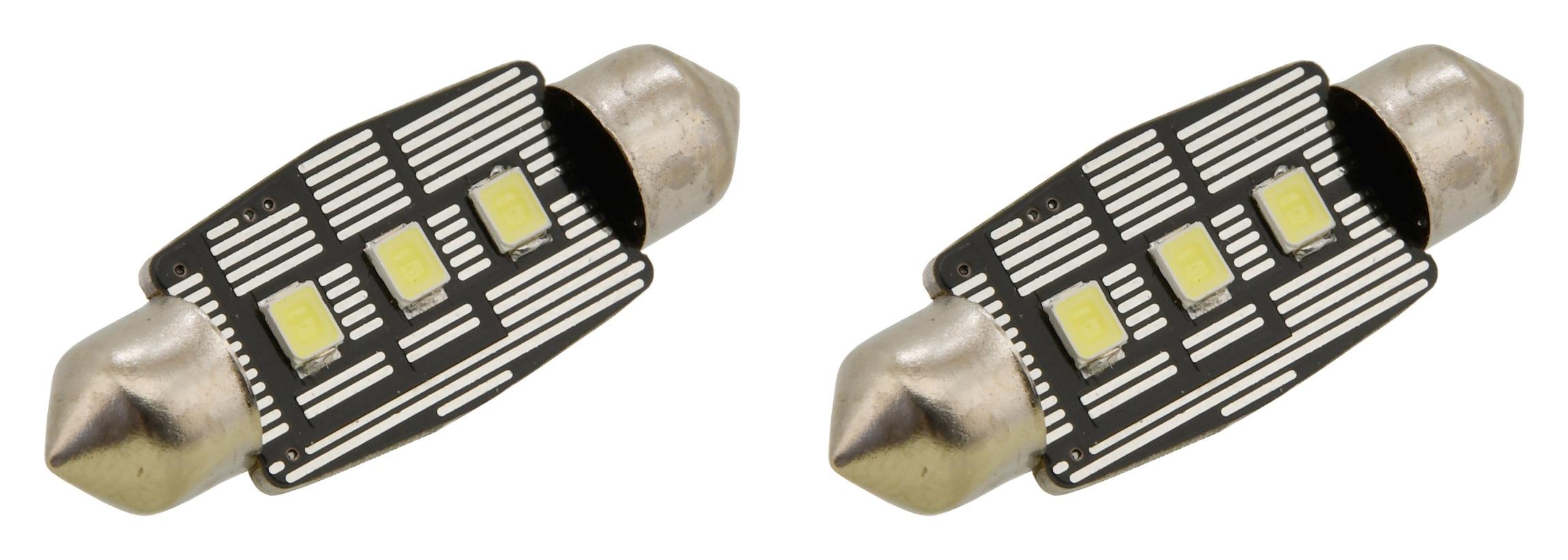 Žárovka 3 LED SMD 12V  suf.11X38 SV8.5 NEW-CAN-BUS bílá 2ks
