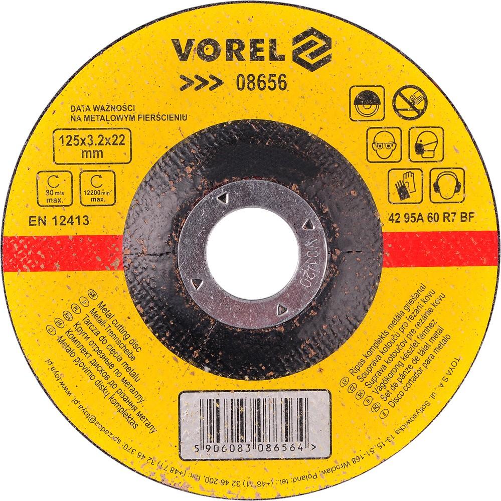 Kotouč na kov řezací vypouklý 125 x 3,2 x 22 mm Vorel
