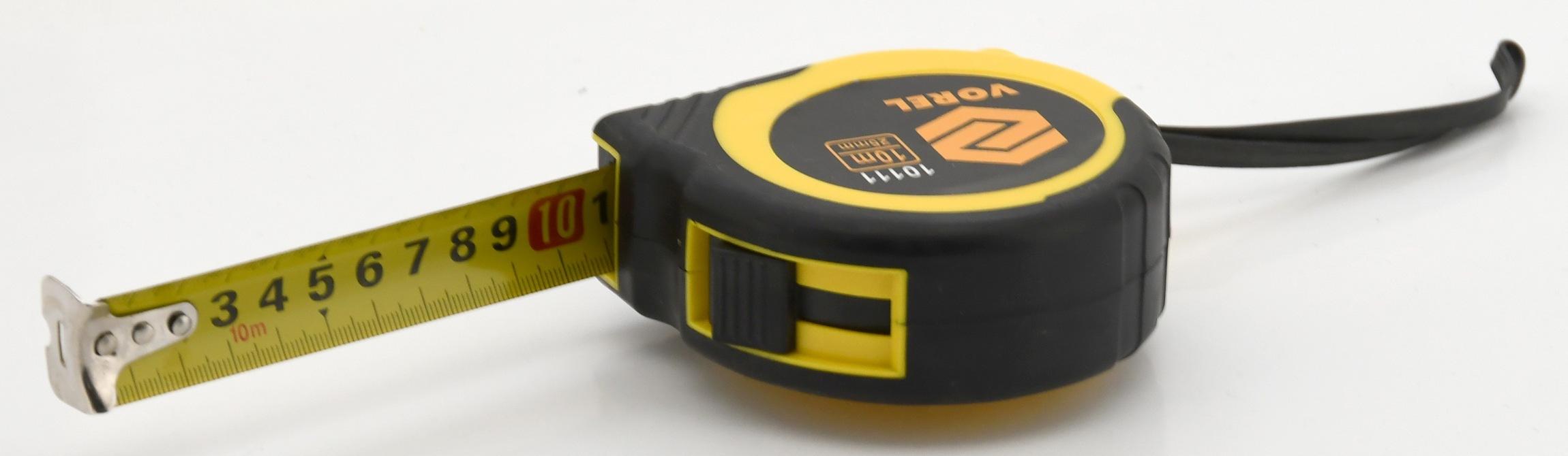 Metr svinovací 10 m x 25 mm žluto - černý