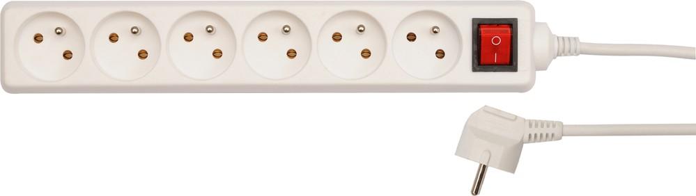 Kabel prodlužovací 1,5 m vypínač 6 zásuvek typ E