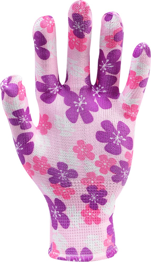 Rukavice zahradní růžové s květinami vel. 8