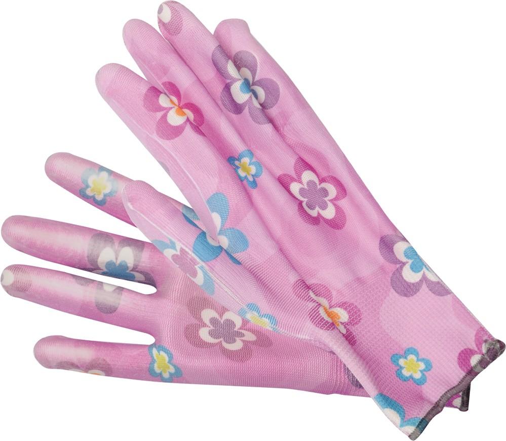 Rukavice zahradní fialové s květinami vel. 8
