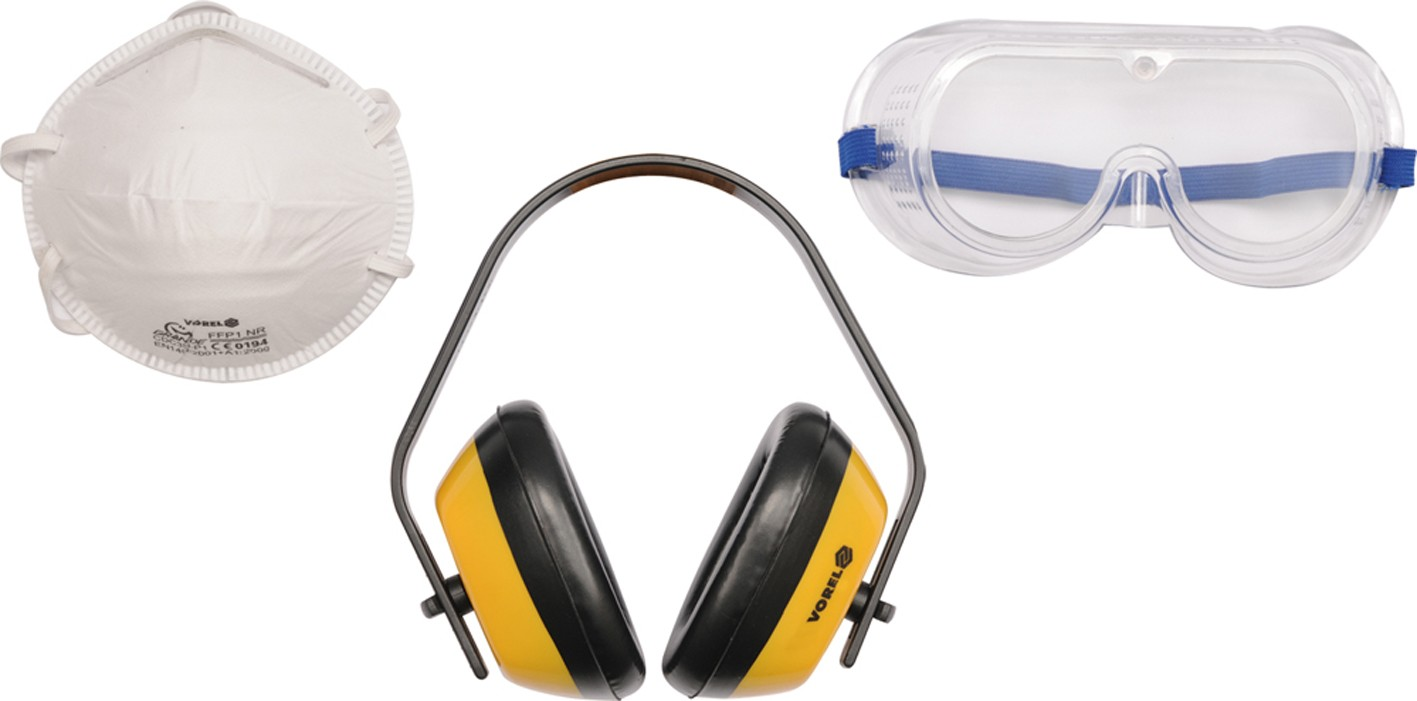 Sada ochranných prostředků,chániče sluchu,brýle,maska proti prachu
