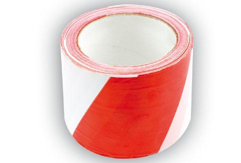 Páska výstražná červenobílá 75 mm x 100 m