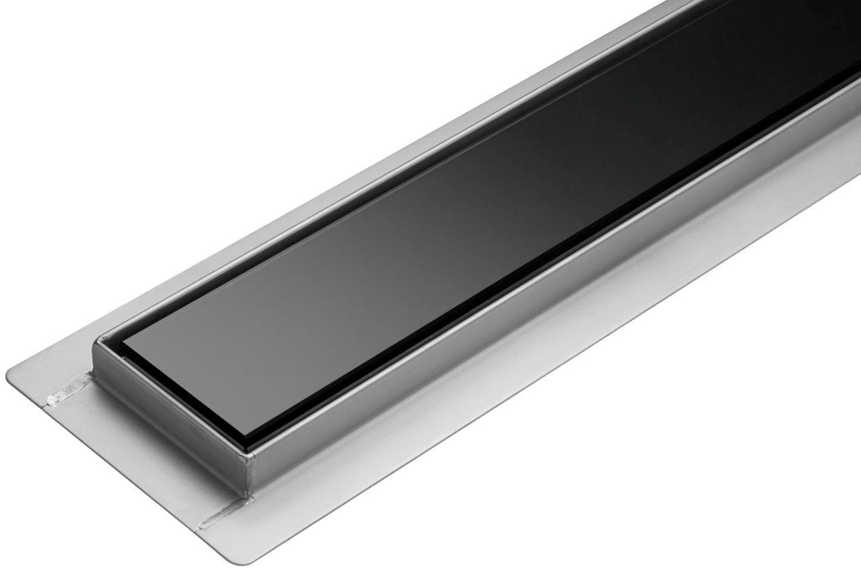 Lineární koupelnový žlab Černé Sklo 90 cm WET&DRY