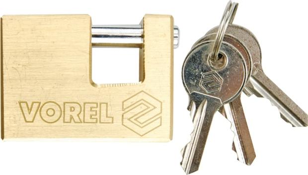 Zámek visací 75 mm čepový mosaz 3 klíče