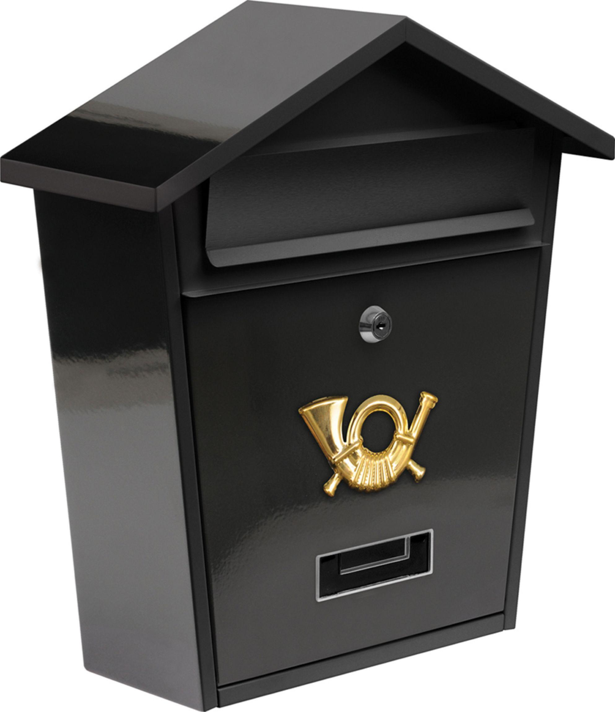 Poštovní schránka se stříškou 380x320x105mm černá