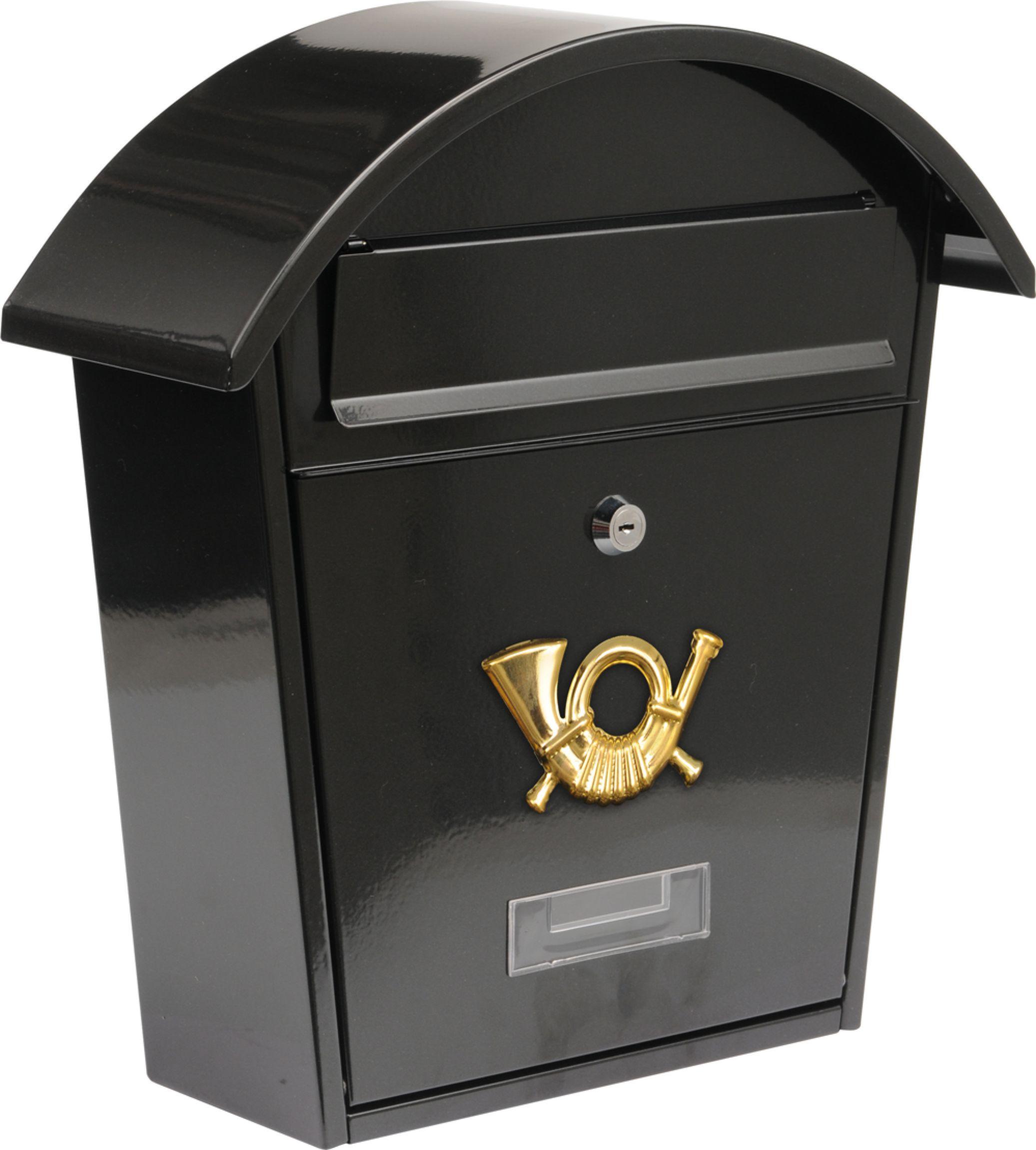 Poštovní schránka se stříškou oblou 380x320x105mm černá