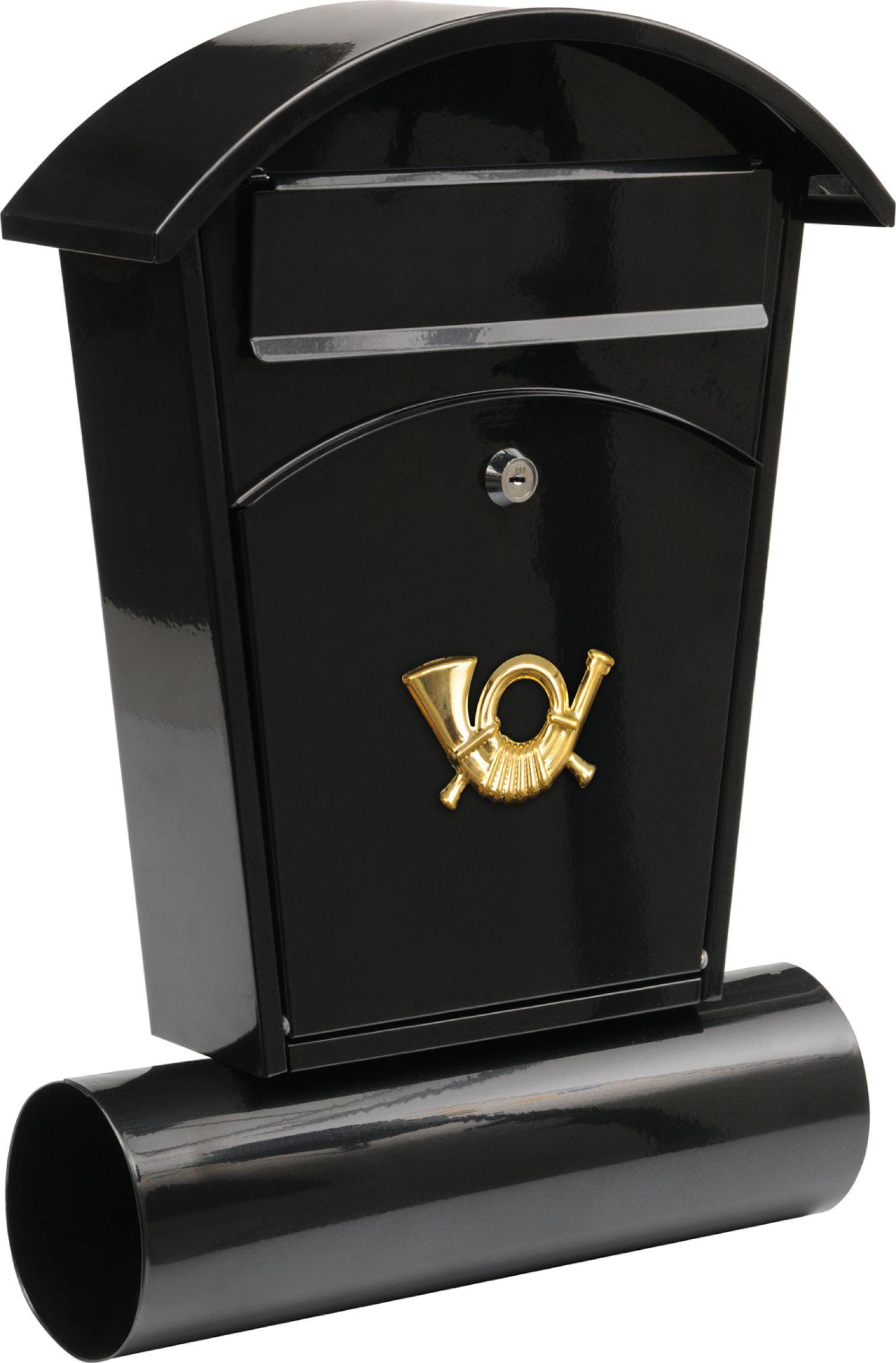 Poštovní schránka se stříškou oblou + zásobník na noviny 480x280x80mm černá
