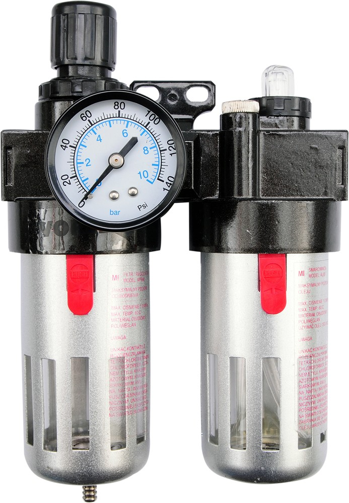 """Regulátor tlaku vzduchu 1/2"""", 0-1MPa, s filtrem a přimazáváním"""