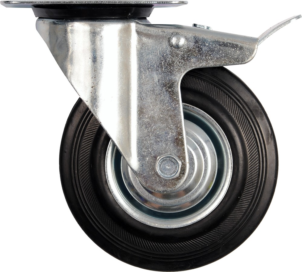 Kolečko otočné s brzdou, gumové 100kg 125/34/155mm