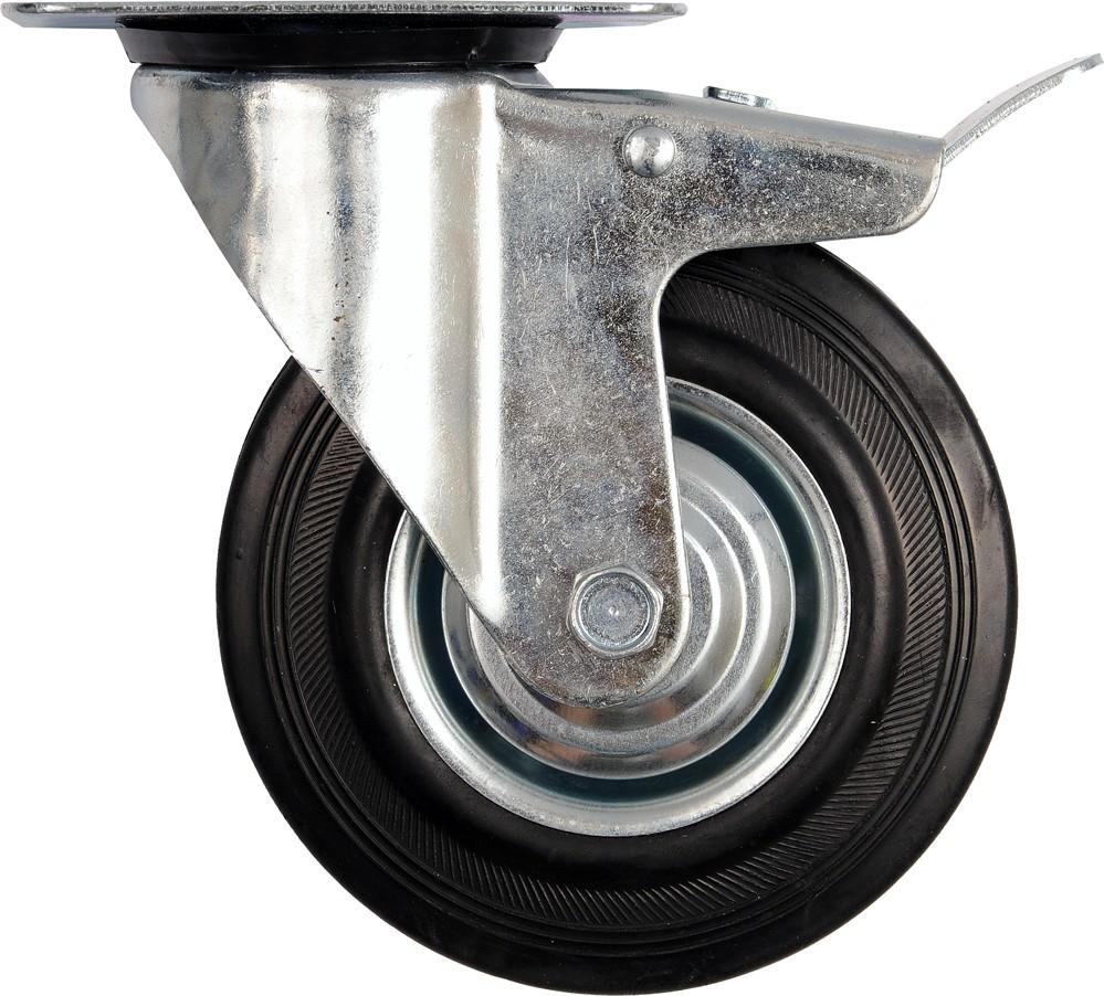 Kolečko otočné s brzdou, gumové 130kg 160/40/195mm