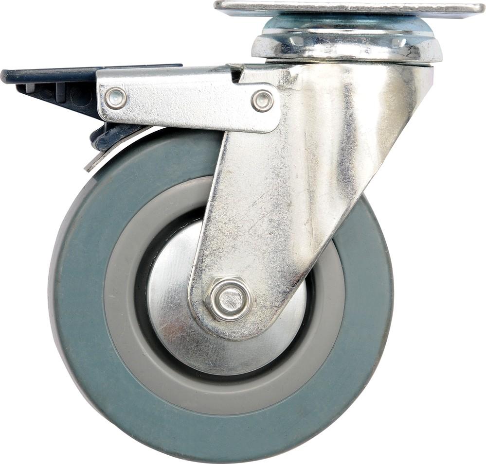Kolečko otočné, gumové s brzdou 45kg 100/26/134mm