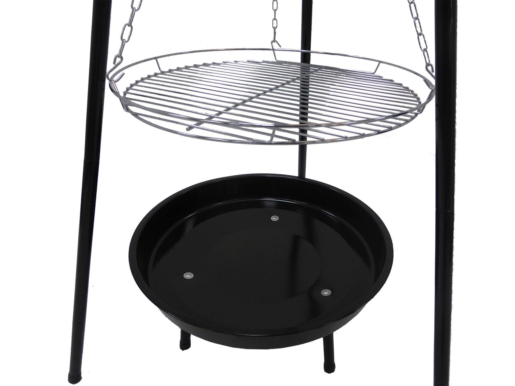 Kulatý gril na dřevěné uhlí 52 cm s trojnožkou
