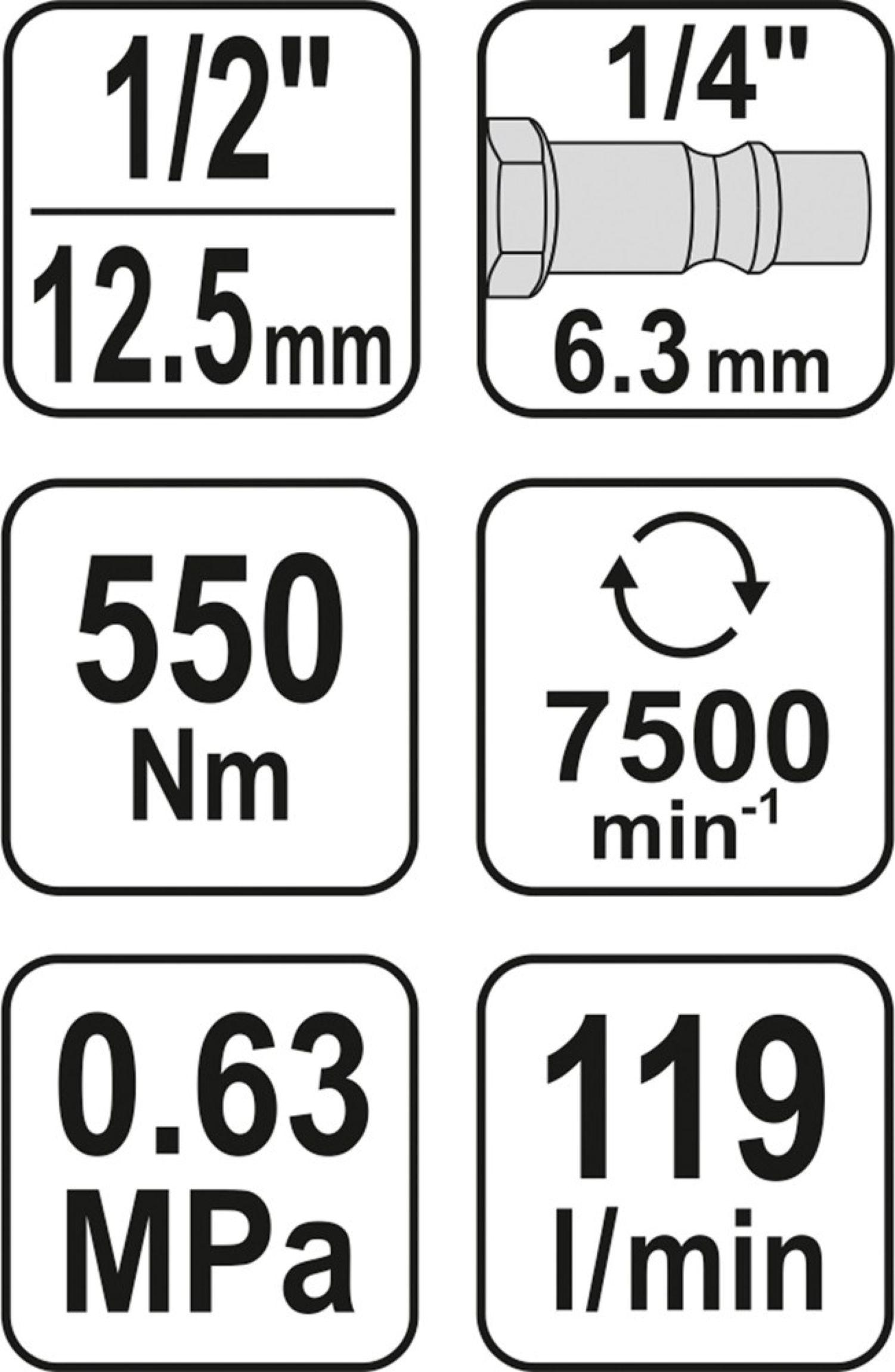 "Utahovák pneumatický 1/2"" 550Nm"