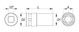 """Nástavec 1/2"""" rázový šestihranný hluboký 13 mm CrMo"""
