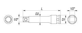"""Nástavec 1/2"""" rázový prodlužovací 250 mm CrMo"""