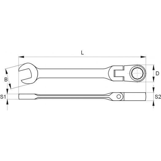 Klíč očkoplochý ráčnový 21 mm s kloubem