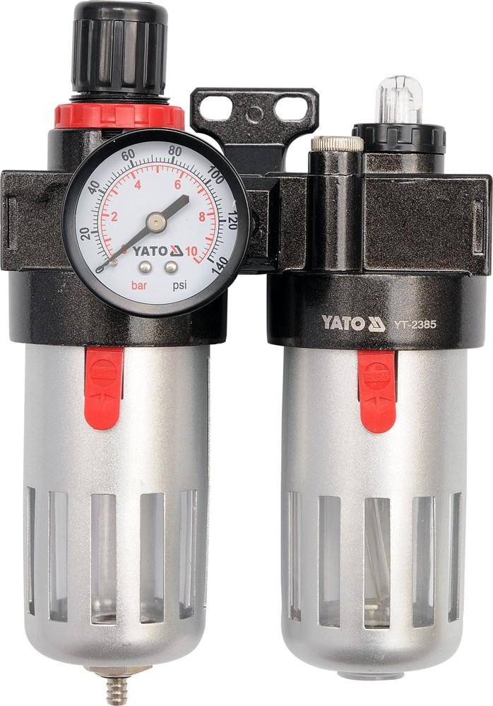 """Regulátor tlaku vzduchu 1/4"""", max. 0,93MPa, s filtrem (90ccm) a přimazáváním (60ccm)"""