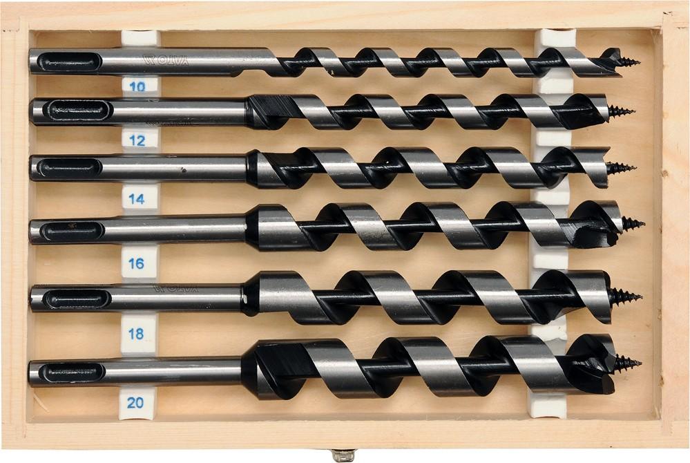 Sada hadovitých vrtáků do dřeva 10.12.14.16.18.20 délka 200mm SDS plus