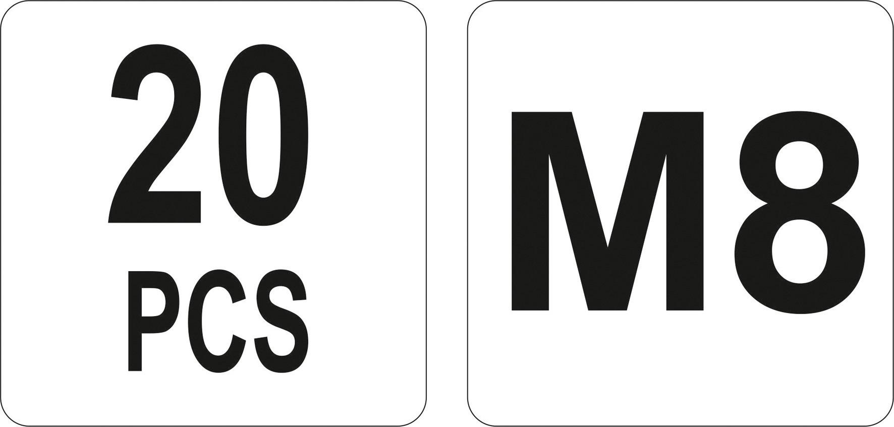 Nýtovací matice ocelová M8, 20ks