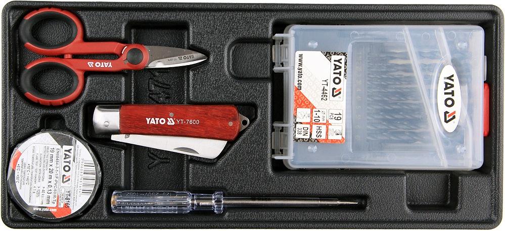 Vložka do zásuvky - izol. páska, zkoušečka, nůžky, montážní nůž, sada vrtáků 1-10mm