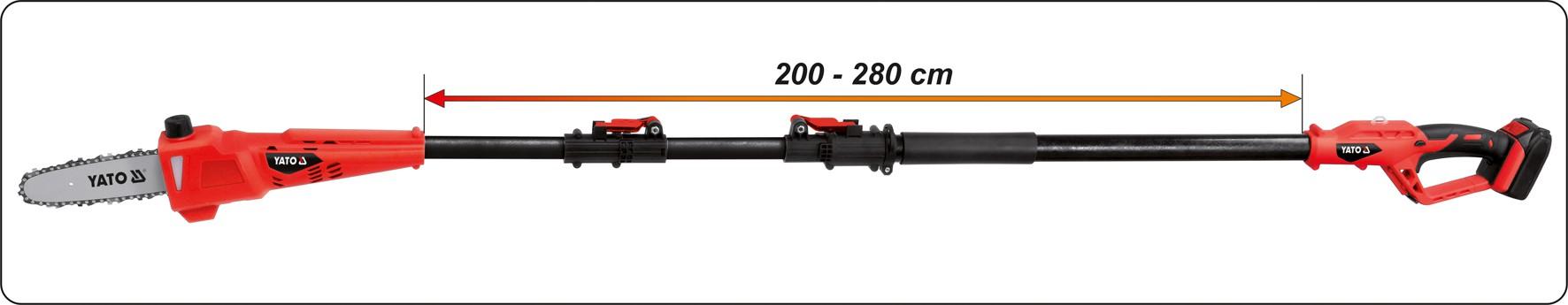 18V Motorová pila s dosahem 2-2,8 m
