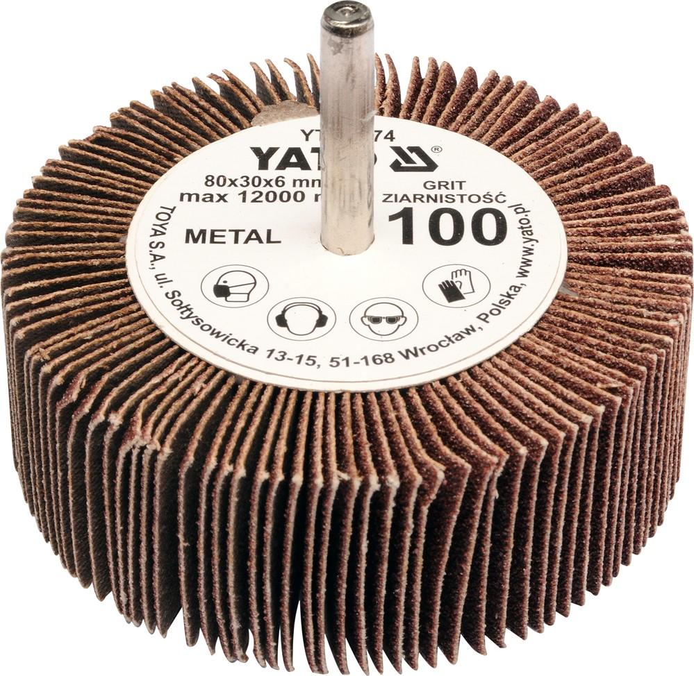Kotouč lamelový radiální 80x30  P-150 s hřídelí 6 mm