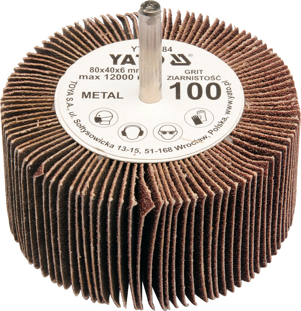 Kotouč lamelový radiální 80x40  P-60 s hřídelí 6 mm