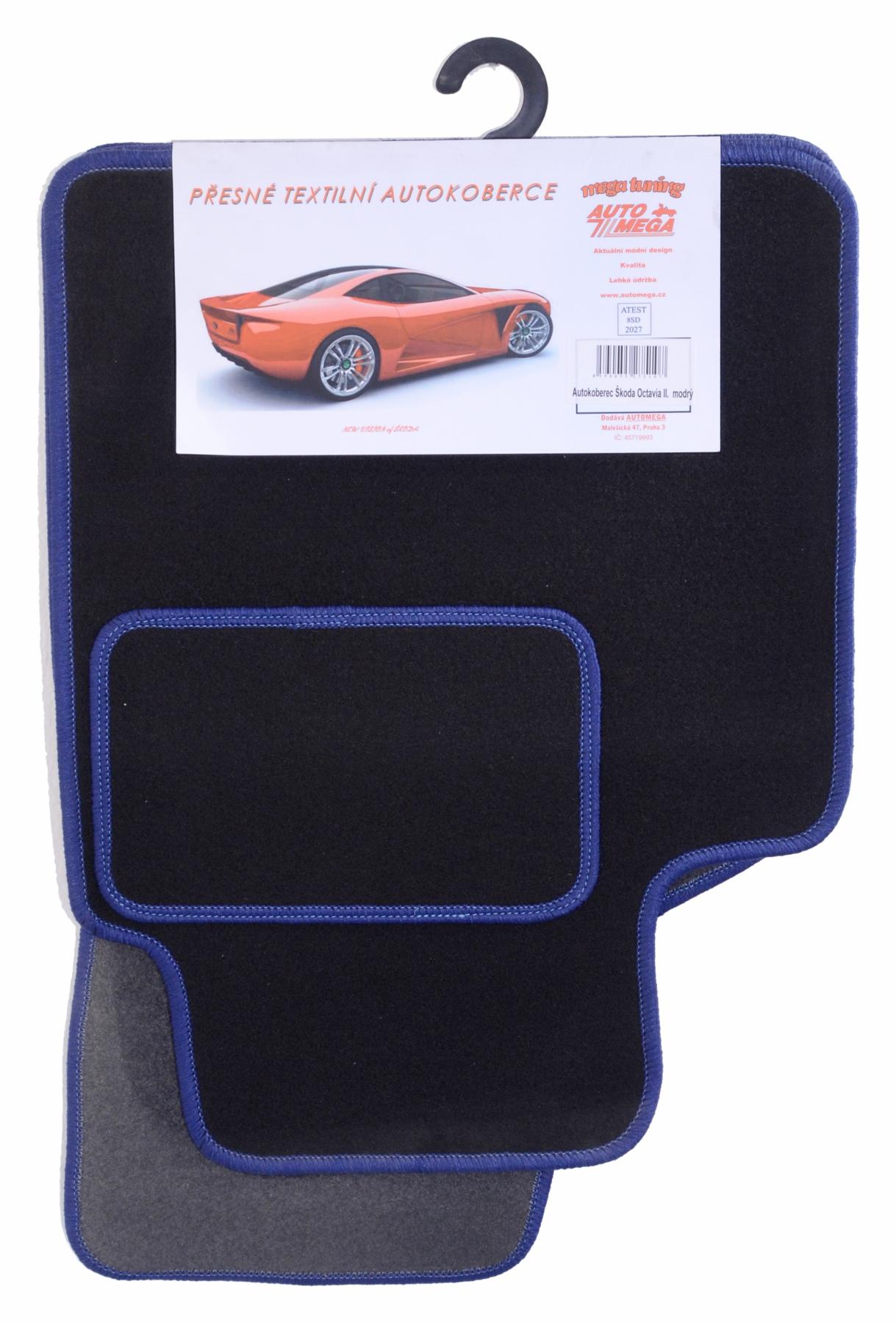 Autokoberce textilní bar.obšité OCT II,modré
