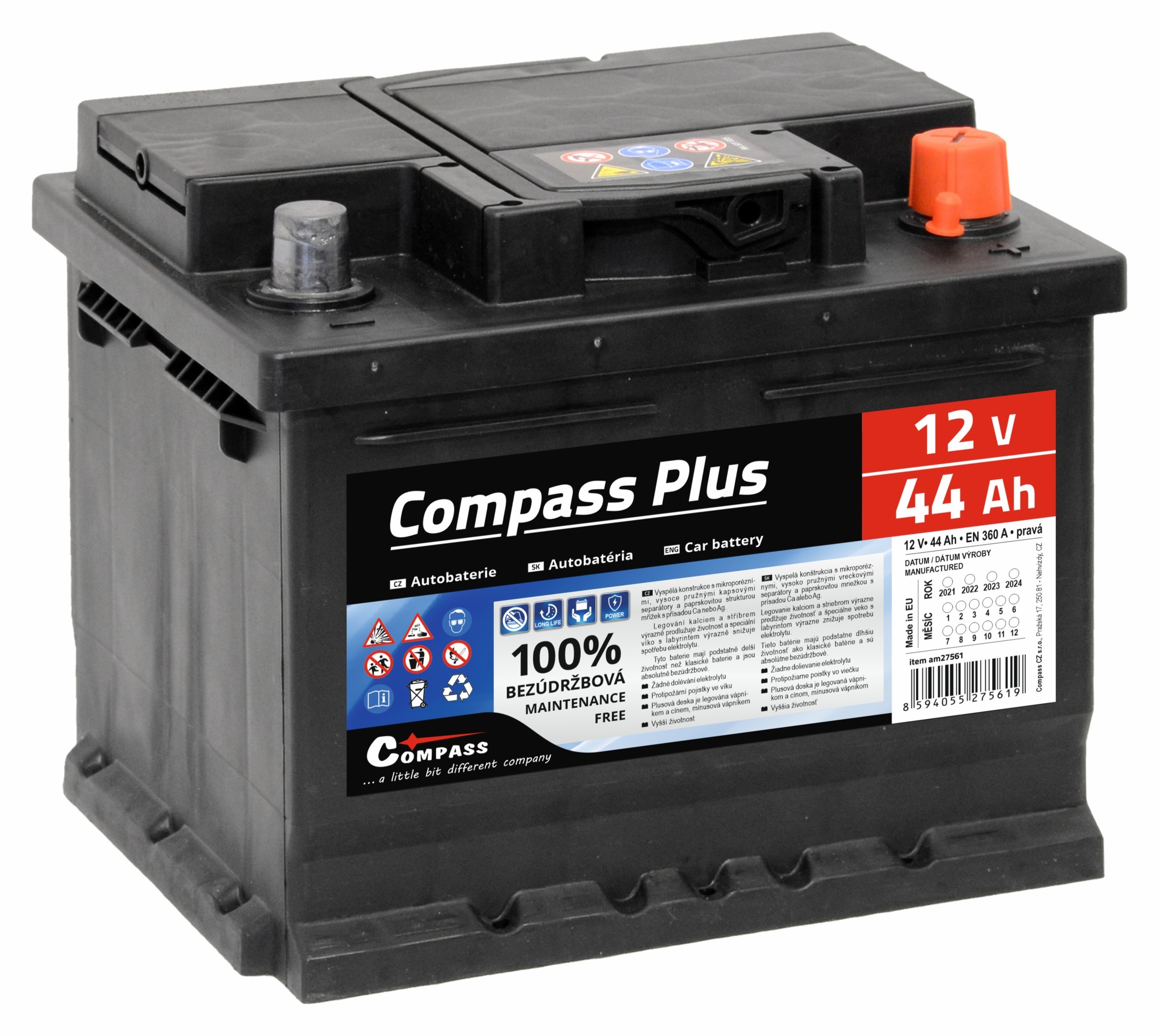 Autobaterie COMPASS PLUS 12V 44Ah 360A