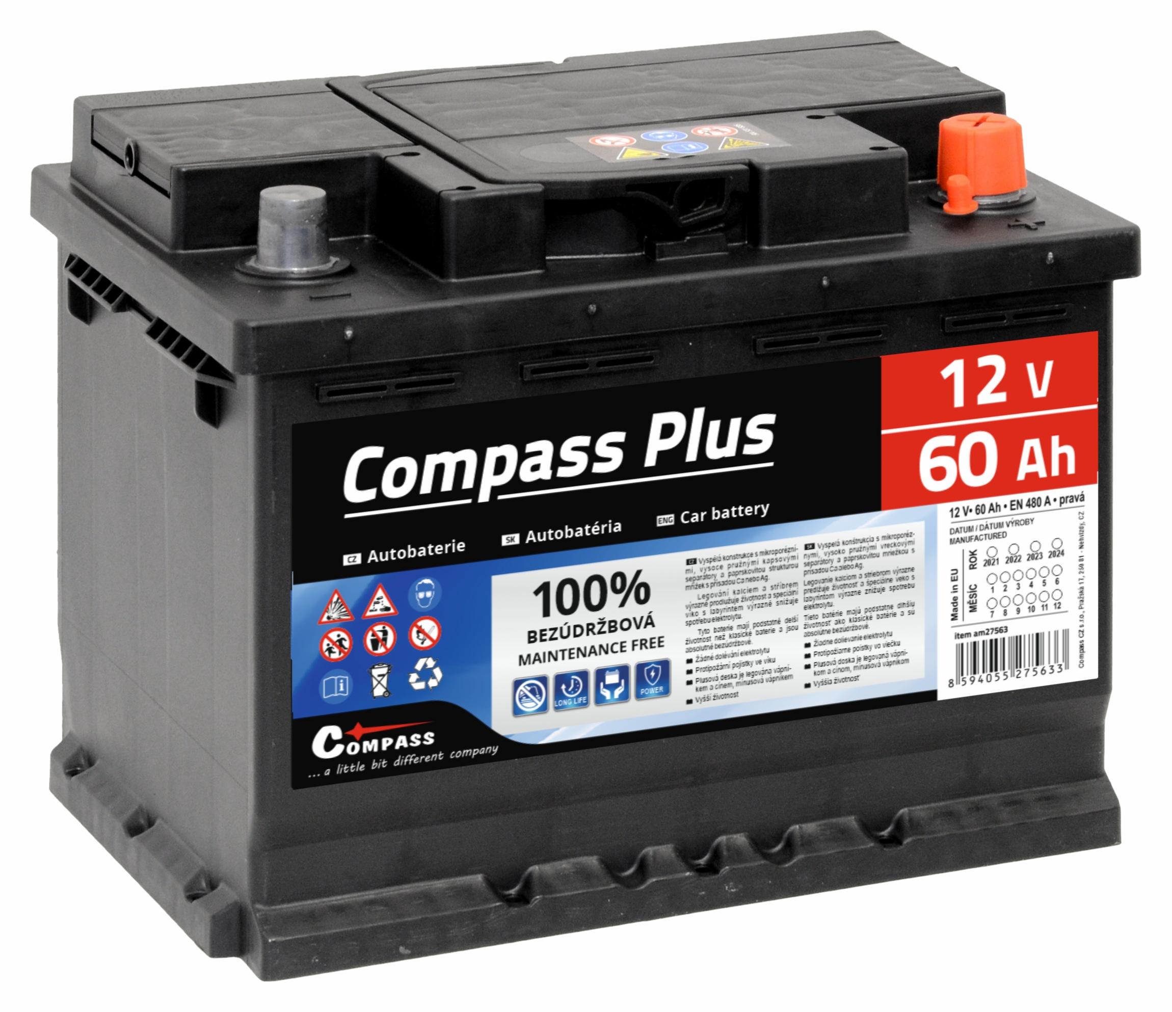 Autobaterie COMPASS PLUS 12V 60Ah 480A
