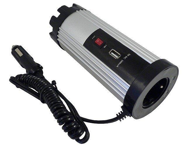 Měnič napětí   12V/230V 150W s  USB