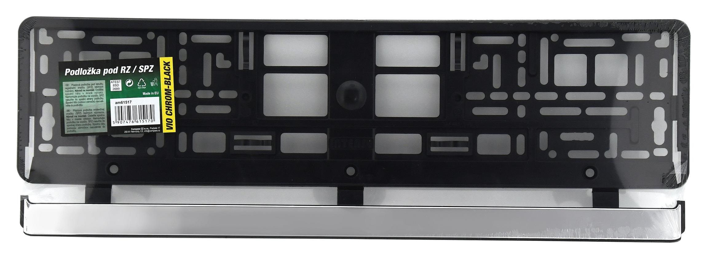 Podložka pod SPZ VIO CHROM-BLACK CAR