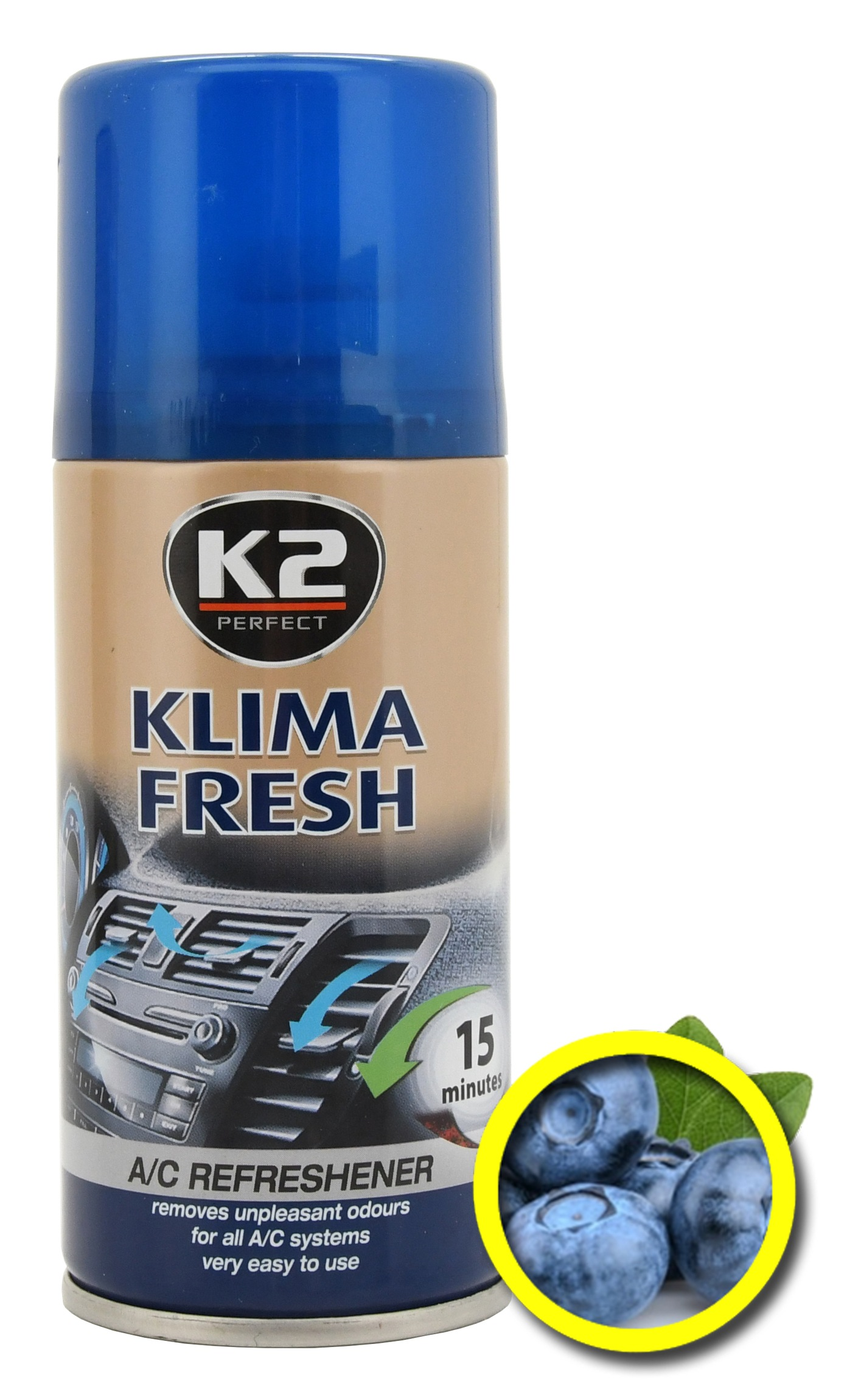 K2 Osvěžovač KLIMA FRESH 150 ml BLUEBERRY