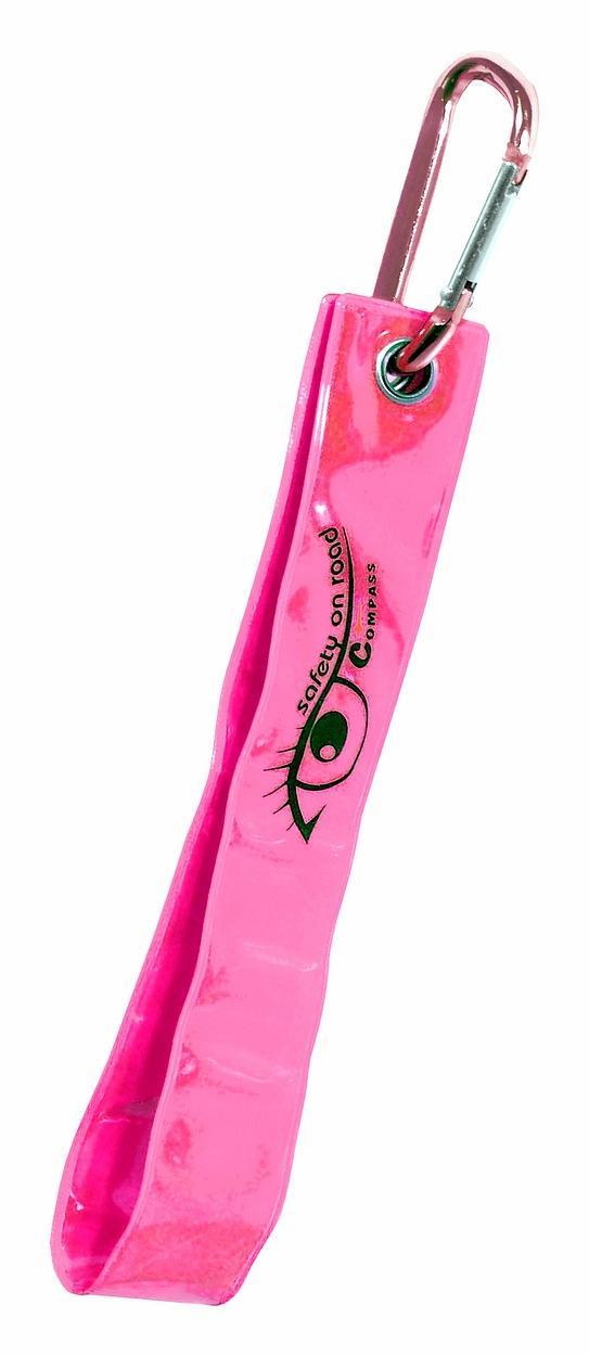 Přívěšek s karabinou reflexní S.O.R. růžový