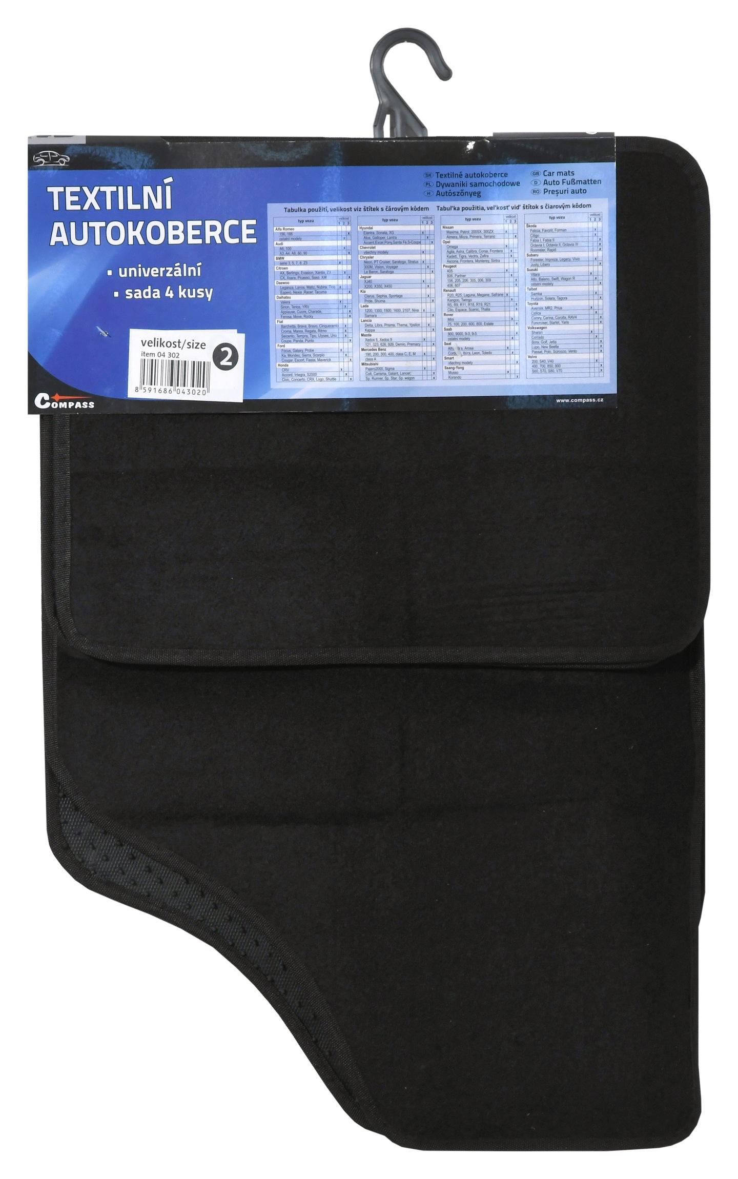 Koberce textilní UNI 4ks vel.2. černé