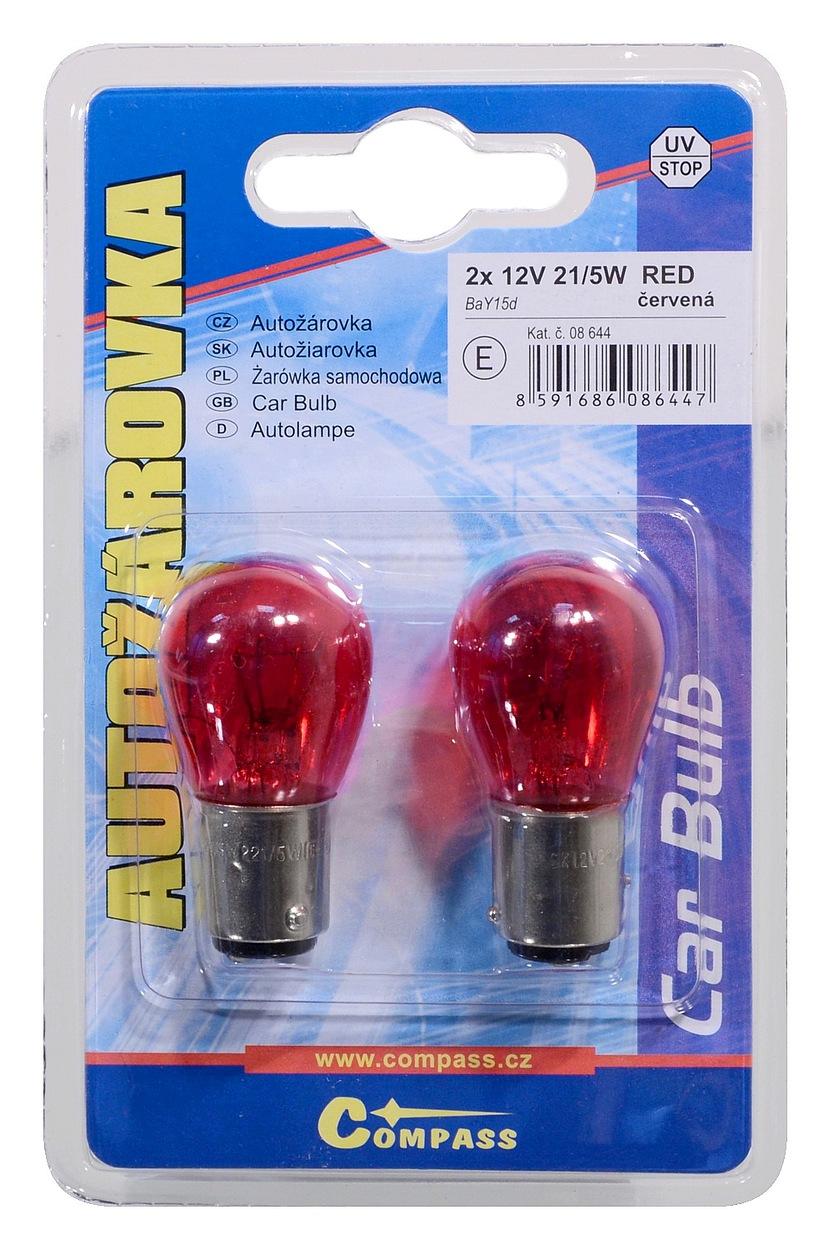 Žárovka 12V  P21/5W  21/5W BaY15d RED blister 2ks