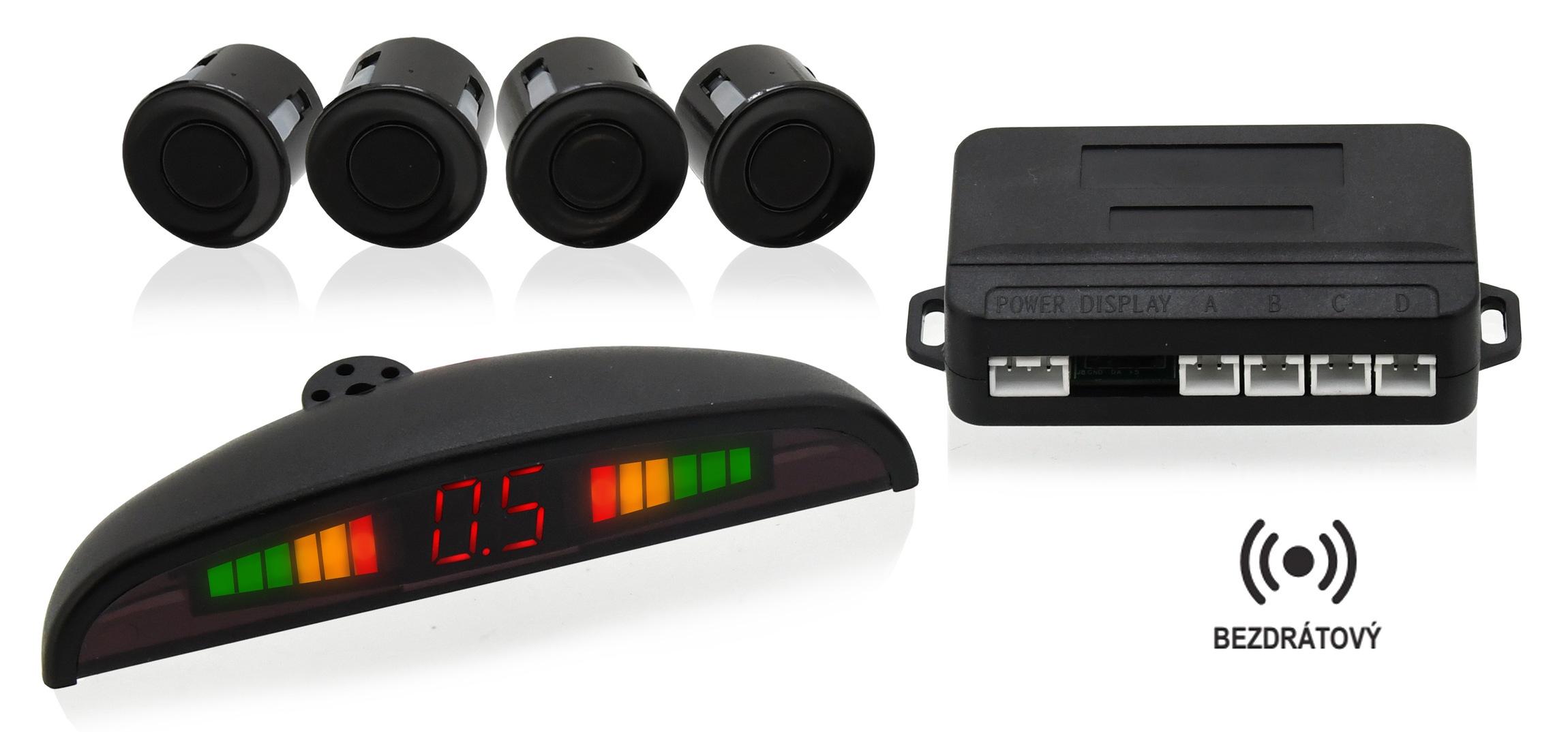 Parkovací asistent 4 senzory. LED display. bezdrátový