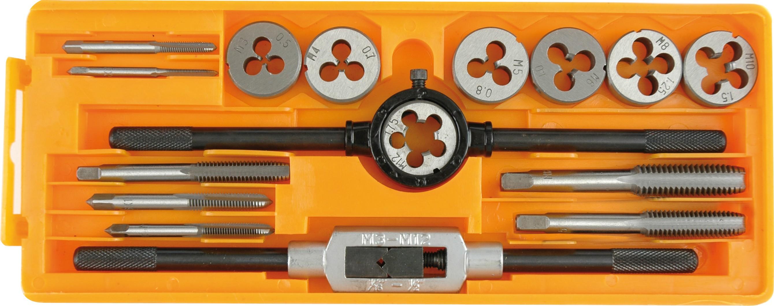 Závitníky a kruhové čelisti M3 - M12 sada