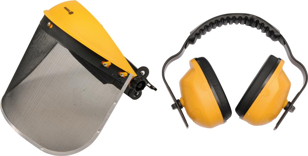 Helma se sítěným štítem + chrániče sluchu