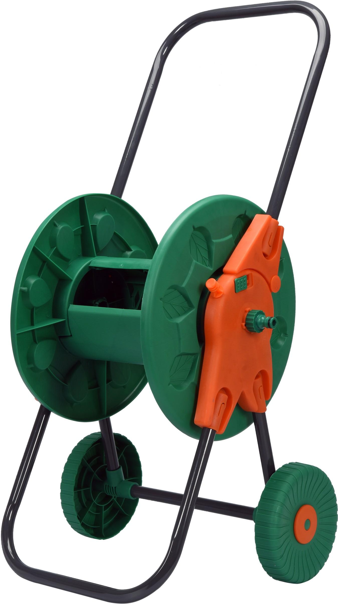 Stojan navíjecí na zahradní hadici s kolečky